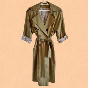 Vintage 80's oversized green trench coat